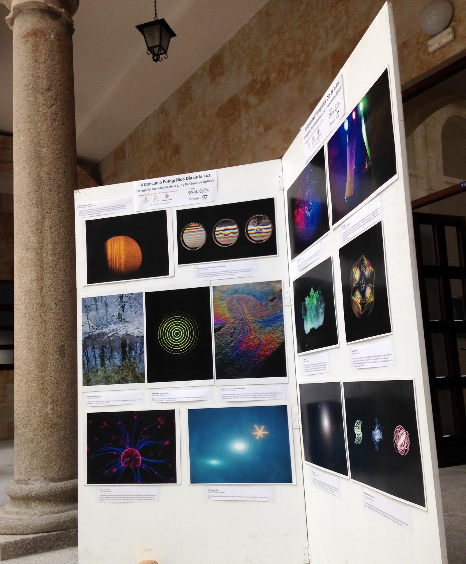 Ya están expuestas las fotografías del concurso Día de la Luz, en el patio del Edificio Trilingüe (Física)